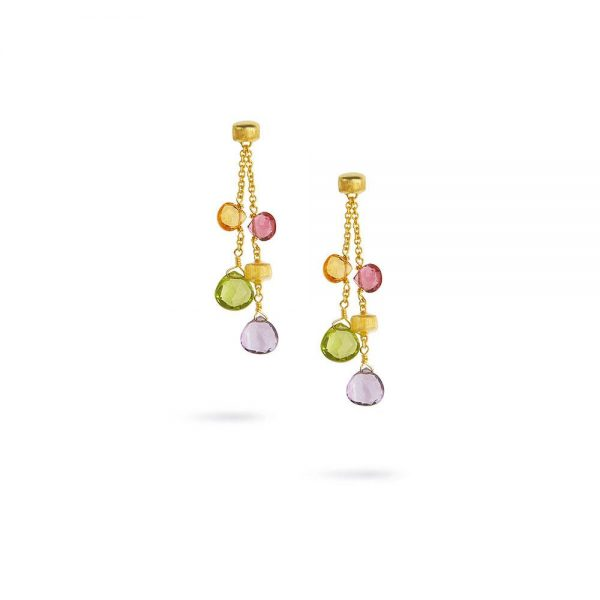 Marco Bicego Paradise 18K Yellow Gold & Mixed Stone Two Strand Short Earrings