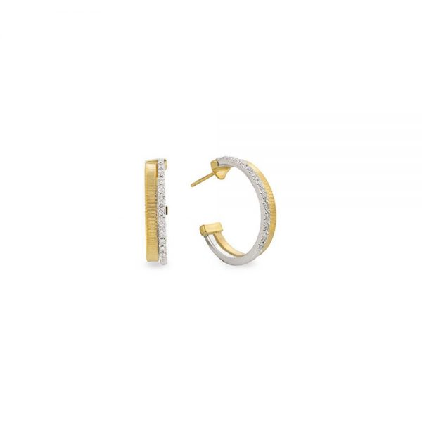 Marco Bicego Masai 18K Yellow Gold Two Row Pave Diamond Hoop Earrings