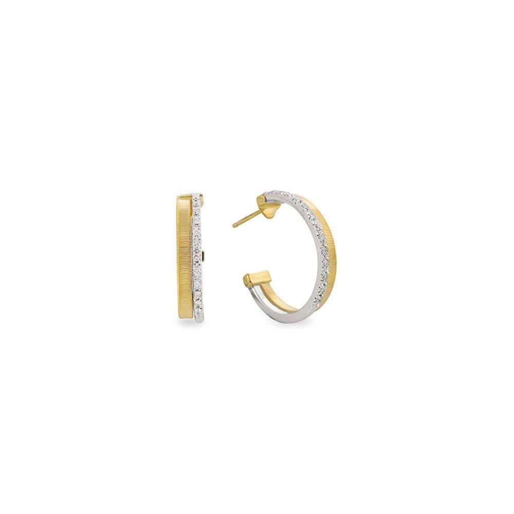Marco Bicego Masai 18K Yellow Gold Two Row Pave Diamond Hoop Earrings