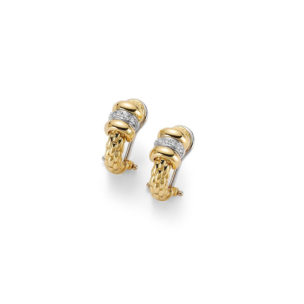 FOPE 18K Yellow and White Gold Earrings With Diamonds