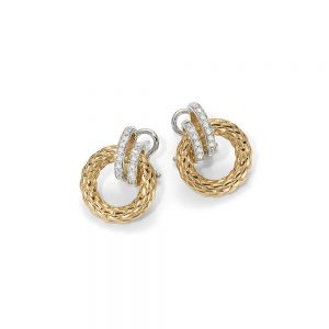 FOPE 18K Gold Earrings With Diamond Hoops