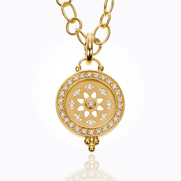 Temple St. Clair 18K Pavé Halo Mandala Cutout Pendant With Diamond