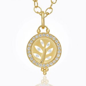 Temple St. Clair 18K Cutout Tree Pendant With Diamond Pavé