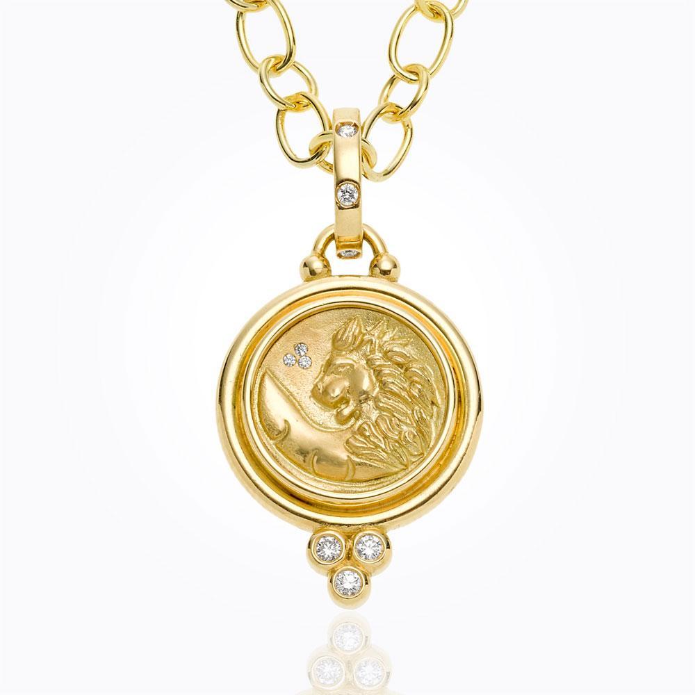 Temple St. Clair 18K Lion Coin Pendant With Diamond