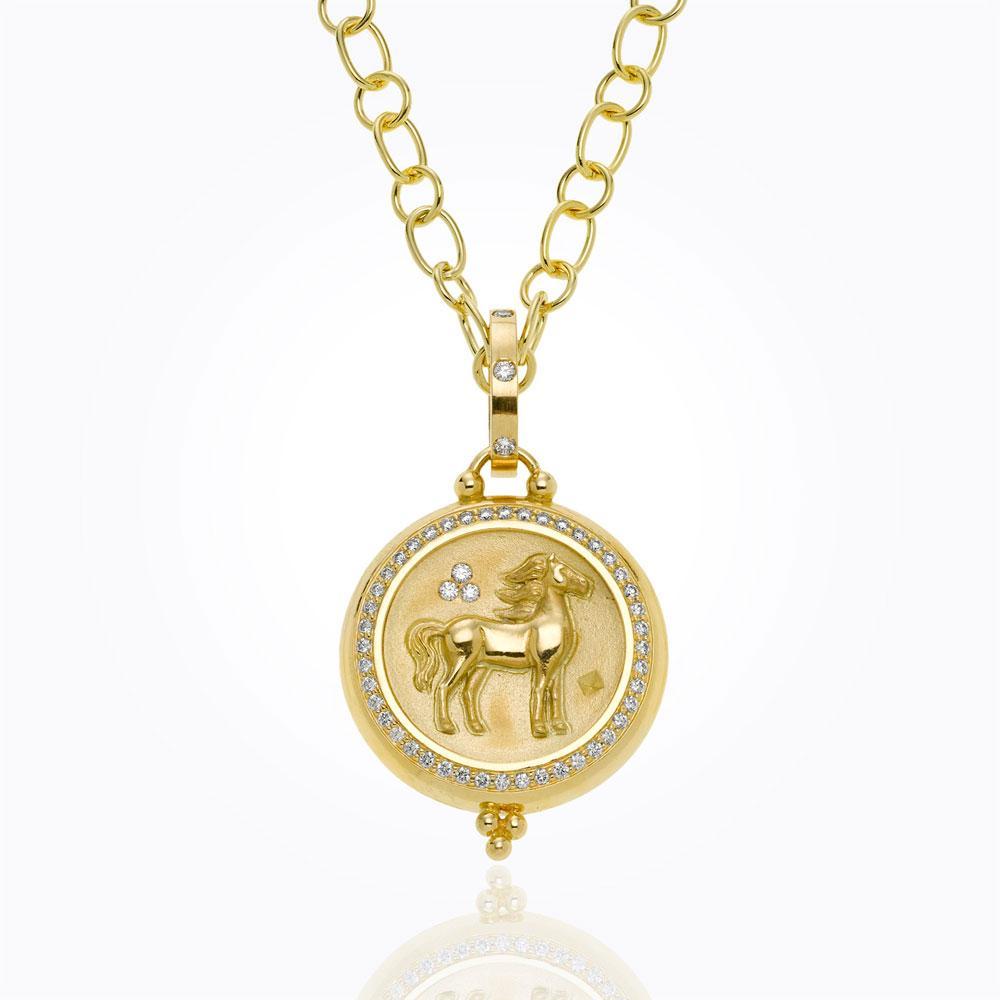 Temple St. Clair 18K Horse Coin Pendant With Diamond Pavé