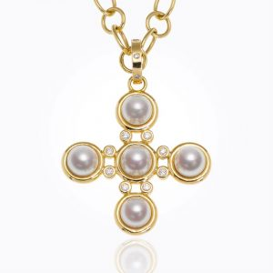 Temple St. Clair 18K Small Classic Five-Stone Cross With Pearl And Diamond