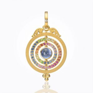 Temple St. Clair 18K Three Ring Tolomeo Pendant With Mixed Sapphire And Diamond