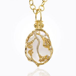 Temple St. Clair 18K Lotus Amulet In Rock Crystal And Diamond