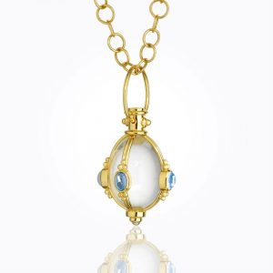 Temple St. Clair 18K Classic Cabochon Amulet With Oval Rock Crystal