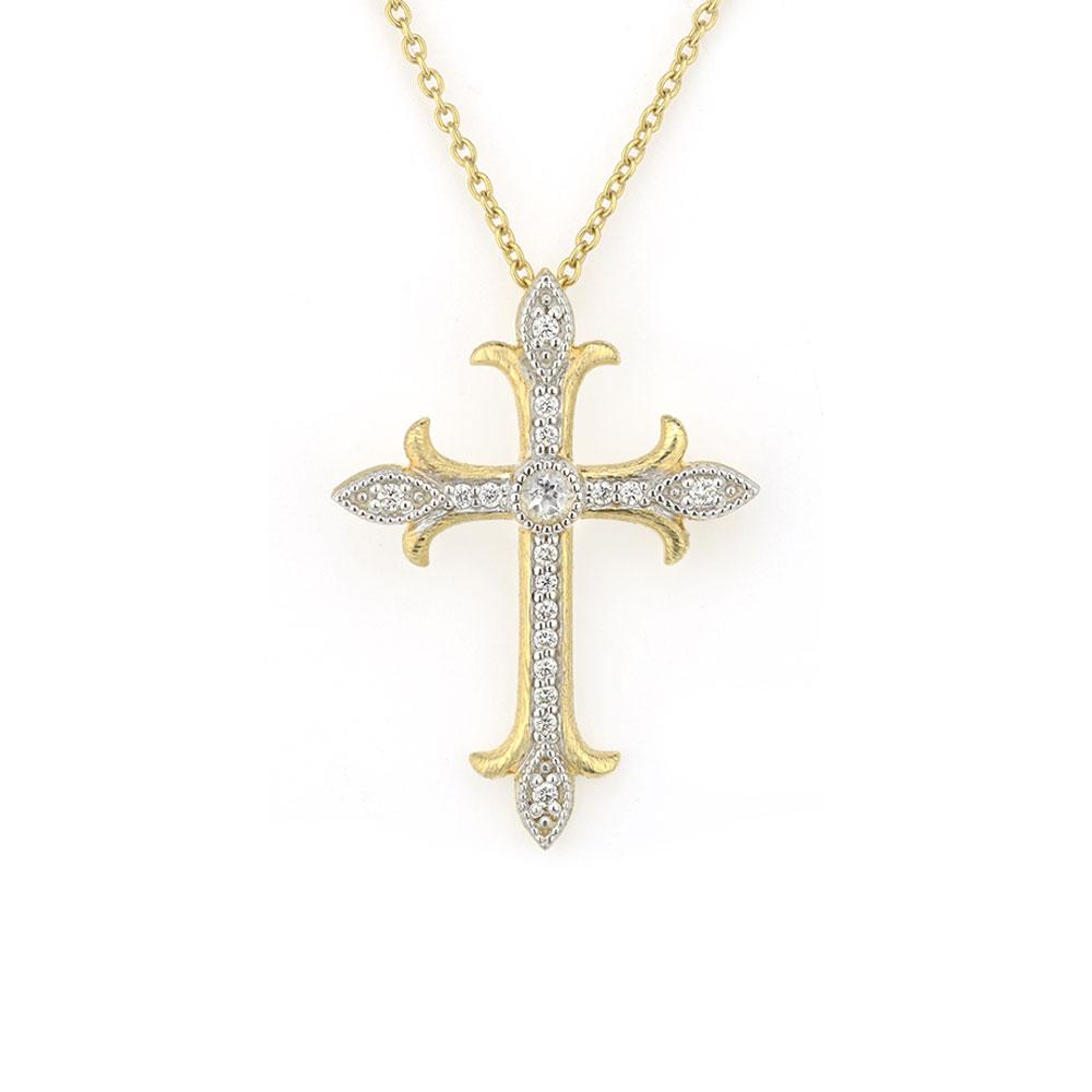 Jude Frances Simple Pave Medium Fleur Cross 18K