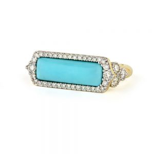 Jude Frances 18K Moroccan Long Stone Pave East West Ring