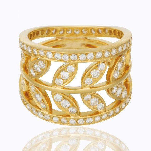 Temple St. Clair 18K Vine Ring with diamond pavé