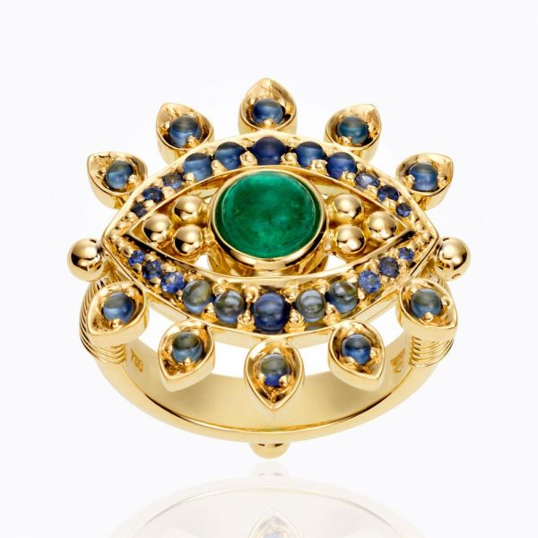 Temple St. Clair 18K Evil Eyelash Ring In Sapphire And Diamond