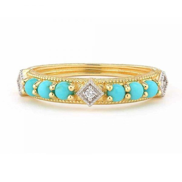 Jude Frances Lisse Turquoise And Diamond 18K Band