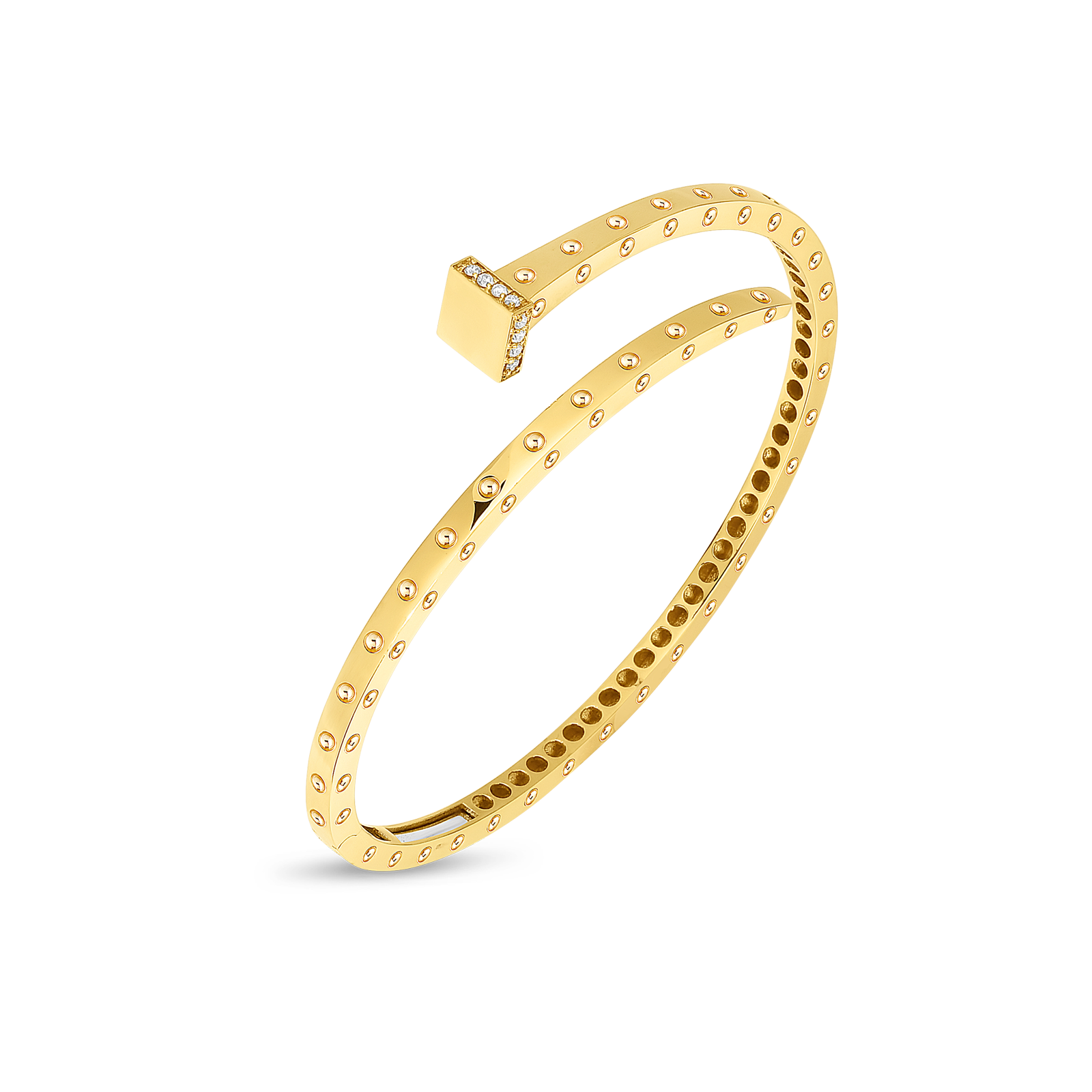 Roberto Coin 18K Gold Slim Chiodo Bangle With Diamonds
