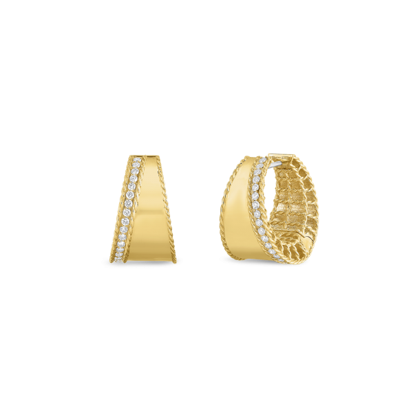 Roberto Coin 18K Gold Tapered Hoops With Diamonds