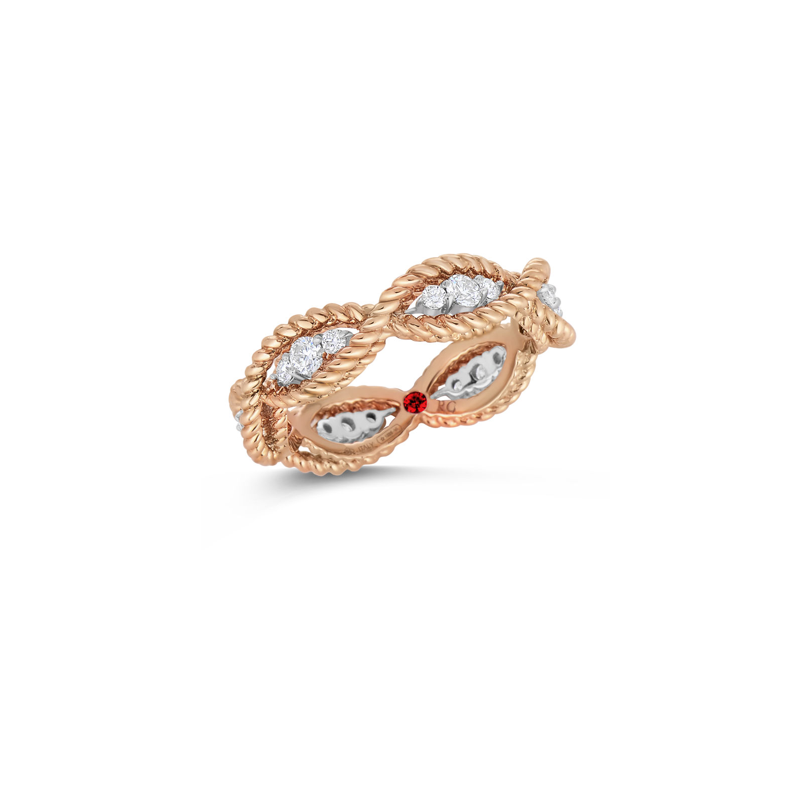 Roberto Coin 18K Rose Gold 1 Row Ring With Diamonds
