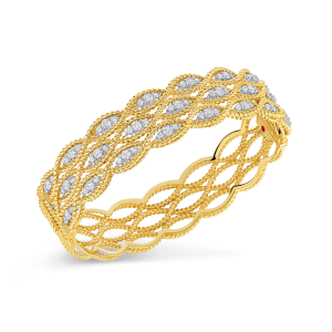 Roberto Coin 18K Gold 3 Row Bangle With Diamonds
