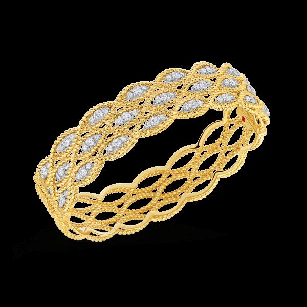 Roberto Coin 18K Gold 3 Row Bangle With Diamonds