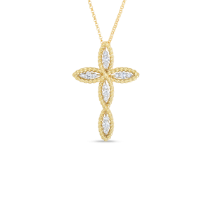 Roberto Coin Gold Cross Pendant With Diamonds