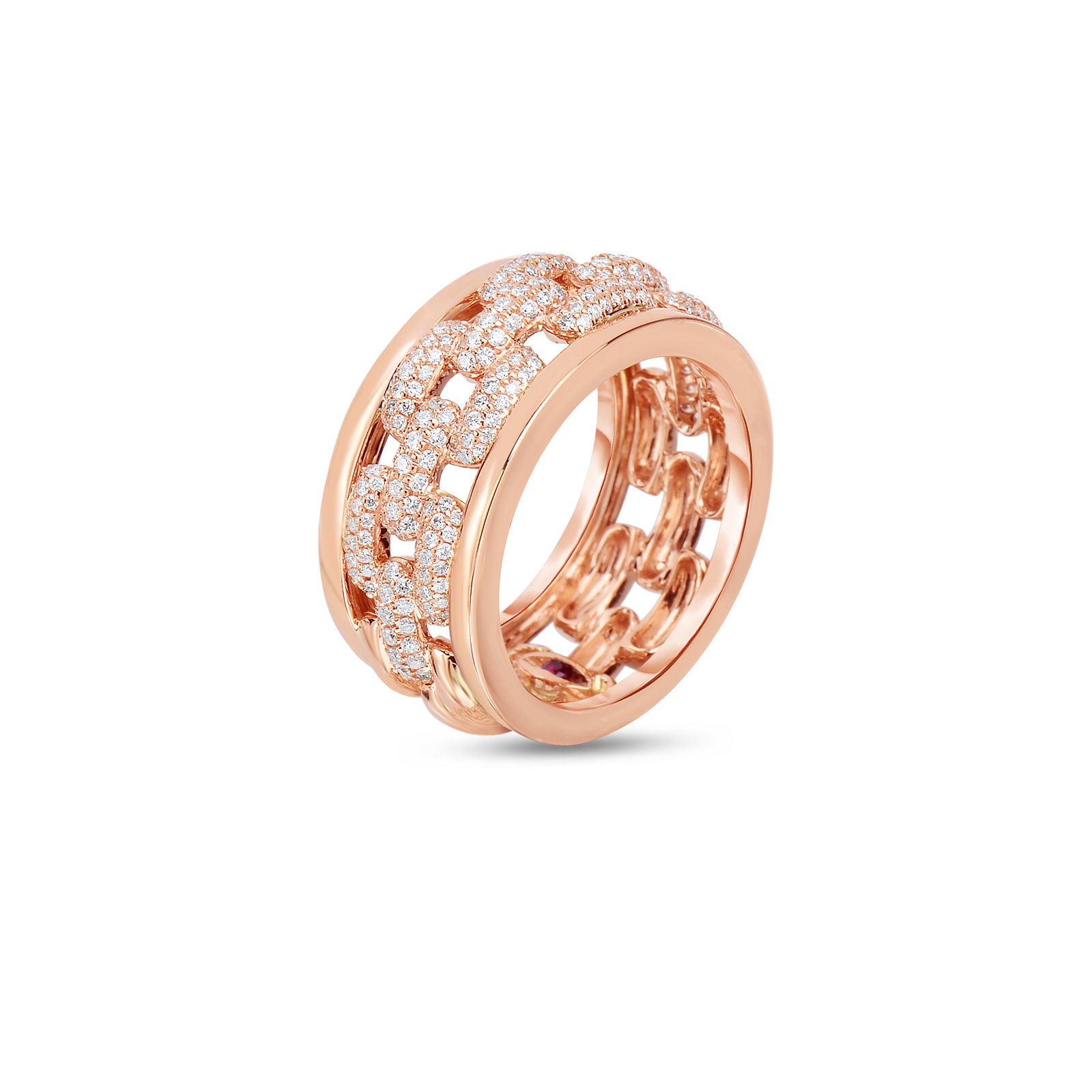 Roberto Coin 18K Rose Gold Chain Pattern Ring With Diamonds