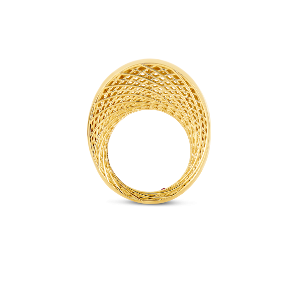 Roberto Coin Golden Gate 18K Gold Ring With Diamonds
