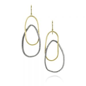 Todd Reed 18K Dangle Earrings In Sterling Silver With Patina