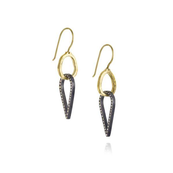 Todd Reed 18K Dangle Earrings With Patina Sterling Silver Reverse Teardrop