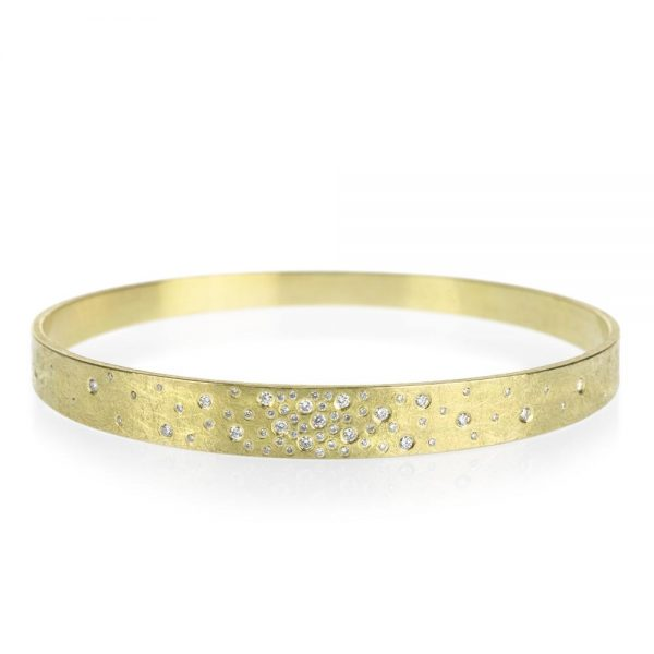 Todd Reed 18K Gold Bangle Bracelet With White Diamonds