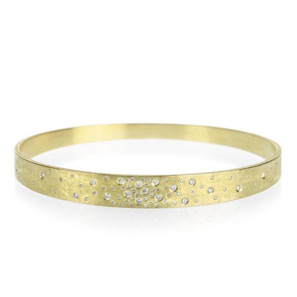 Todd Reed 18K Gold Bangle Bracelet With White Diamonds