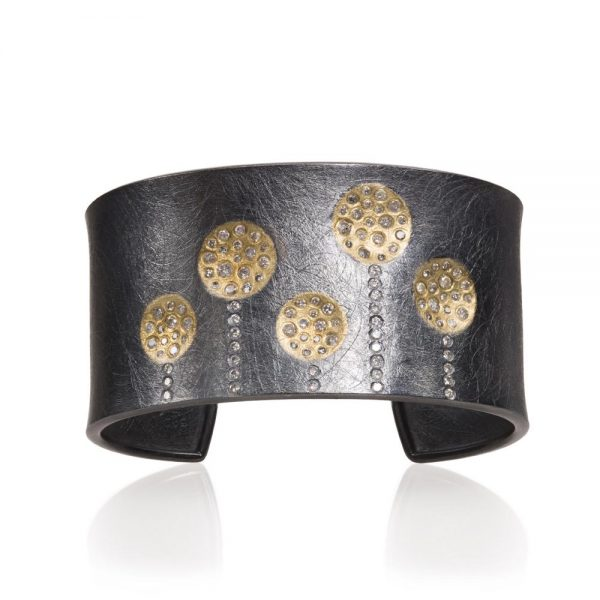 Todd Reed 18K Gold Cuff With Patina Sterling Silver And White Diamonds