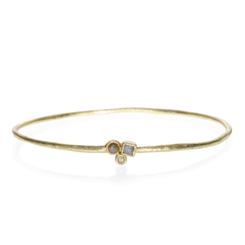 Todd Reed 18K Yellow Gold Rose Cut Diamond Thin Bangle