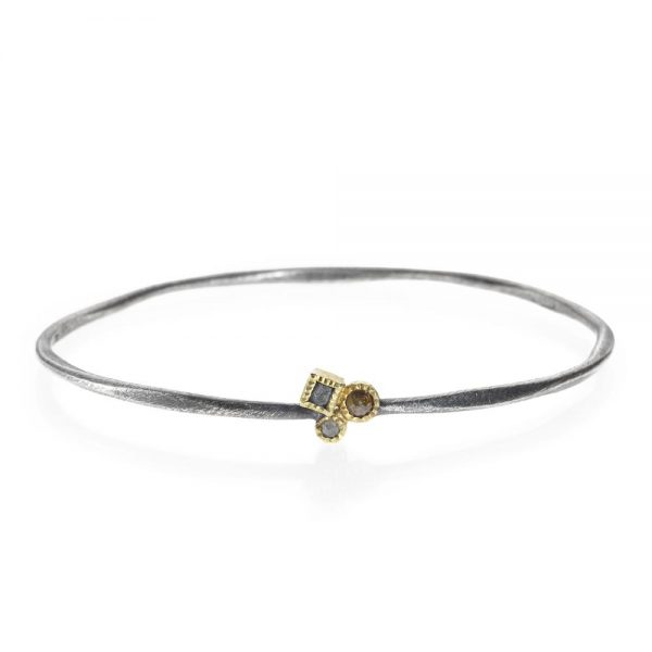 Todd Reed Patina Sterling Silver Thin Bangle Bracelet With Rose Cut Diamonds