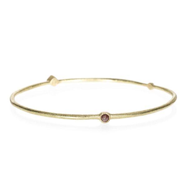 Todd Reed 18k Gold Thin Bangle Bracelet With Rose Cut Diamonds