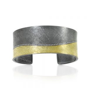Todd Reed 18k Mixed Metal Cuff With White Diamonds