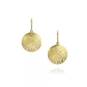 Todd Reed 18K Dangle Earrings With White Diamonds