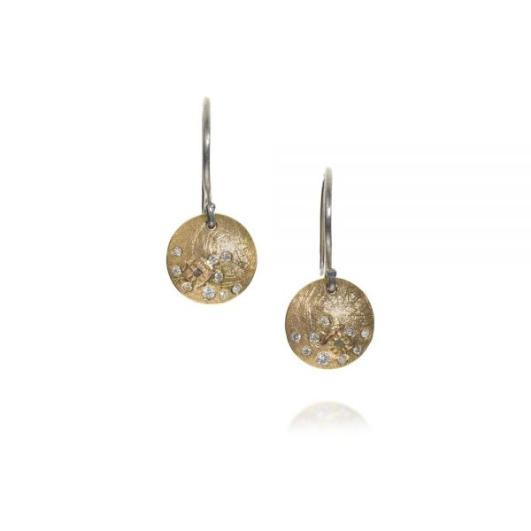 Todd Reed 18K Gold and Palladium Disc Earrings With White Diamonds