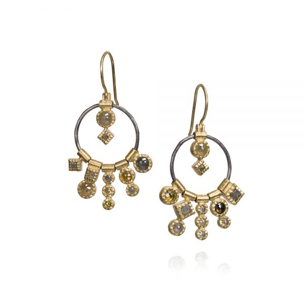 Todd Reed 18k Gold and Patina Sterling Silver Dangle Earrings With Rose Cut Diamonds
