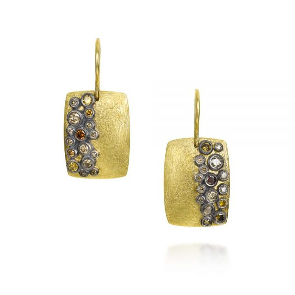 Todd Reed 18k Gold Dangle Earrings With Autumn Diamonds