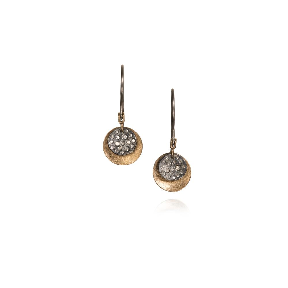 Todd Reed 18k Rose Gold and Patina Sterling Silver Small Disc Earrings
