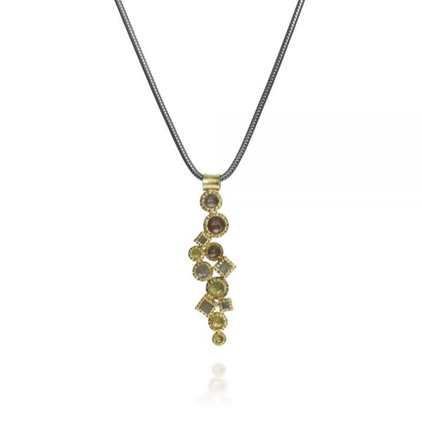 Todd Reed 18K Raw And Rose Cut Diamond Pendant With Patina Sterling Silver