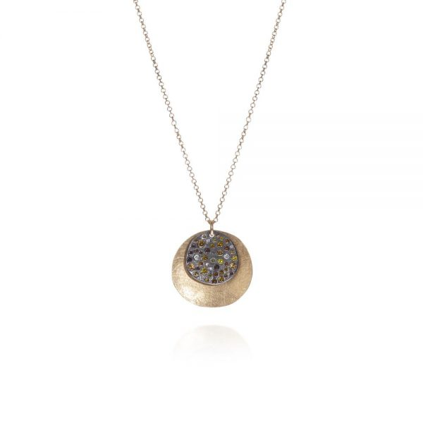 Todd Reed 18K Round Scattered Diamond Pendant With Patina Sterling Silver
