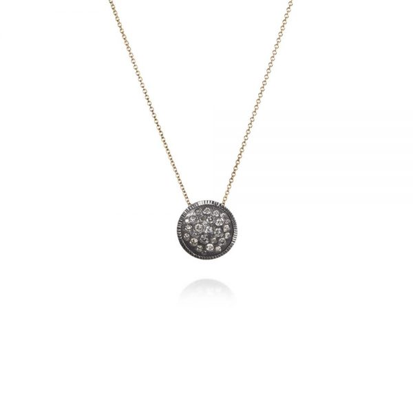 Todd Reed 18K Diamond Circle Pendant With Patina Sterling Silver