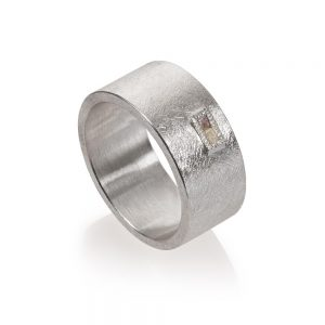Todd Reed Sterling Silver Band With Raw Diamond Cubes