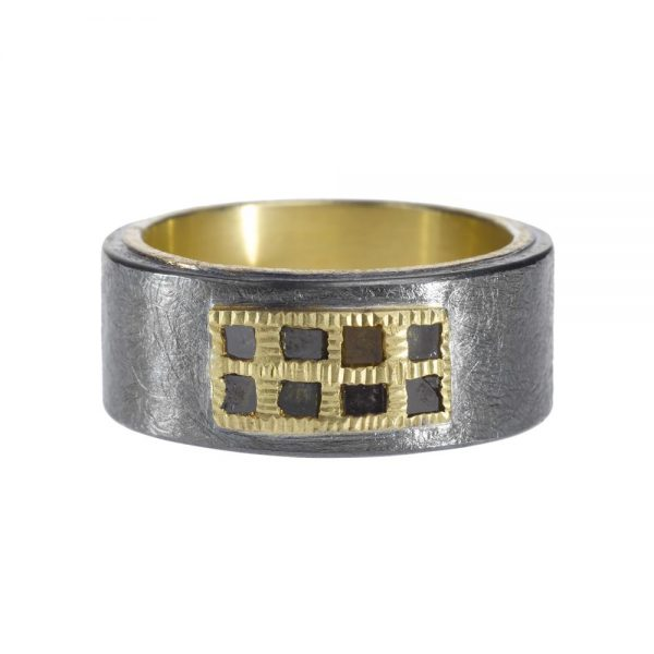 Todd Reed 18K Wide Band With Patina Sterling Silver and Diamonds
