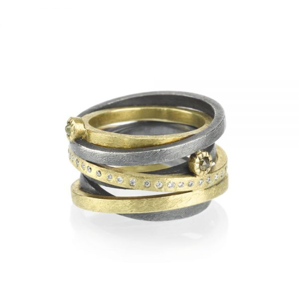 Todd Reed 18K Multi-Banded Ring With Rose Cut Diamonds
