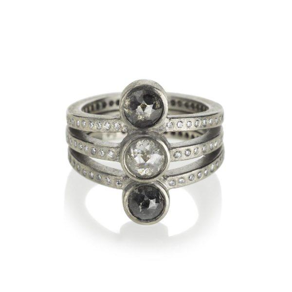 Todd Reed Palladium Three Stone Ring With White and Gray Diamonds