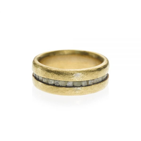 Todd Reed 22K Gold Raw Diamond Band With Patina Sterling Silver