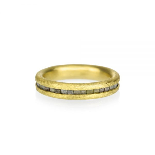 Todd Reed Small 22K Gold Raw Diamond Band With Patina Sterling Silver