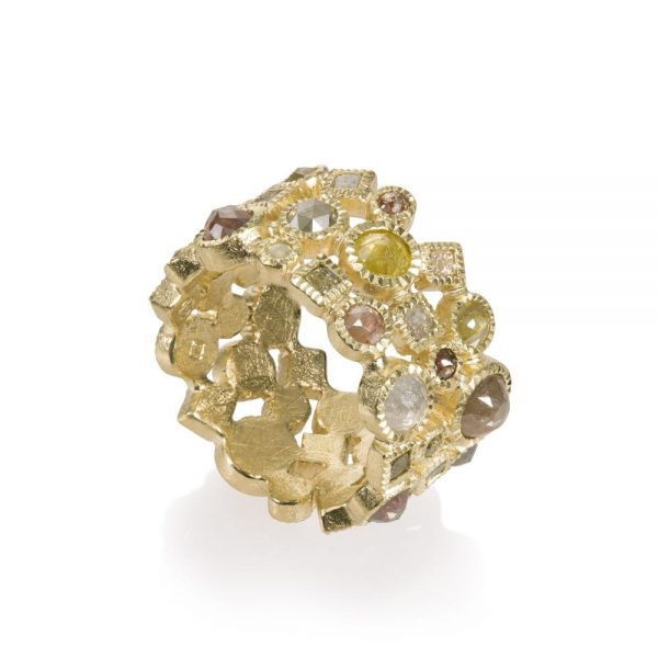 Todd Reed 18K Gold Rose Cut Eternity Band With Diamonds